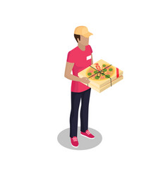 Delivery man with pizza box vector