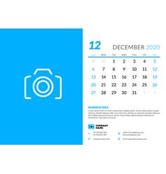 desk calendar template for december 2020 week vector image