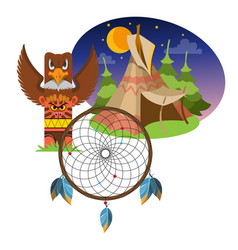 Dreamcatcher indians talisman objects magic vector