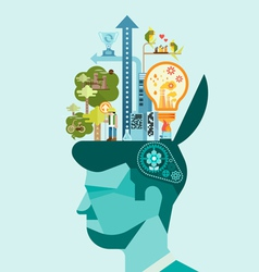 Ecology Think green human mind vector image