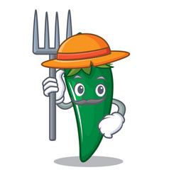farmer green chili character cartoon vector image