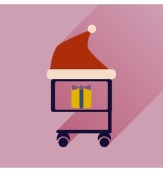 flat icon with long shadow cart with Christmas vector image