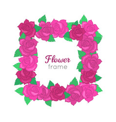 flower frame squar wreath of different blossoms vector image