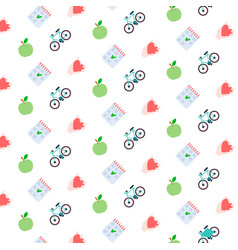 fresh apple check list heart bicycle icon healthy vector image