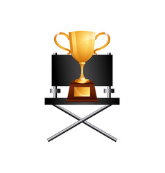 Golden trophy icon vector