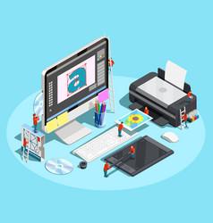 Graphic designer workspace concept vector