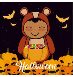 halloween kid cartoon vector image