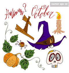Haloween set colored vector