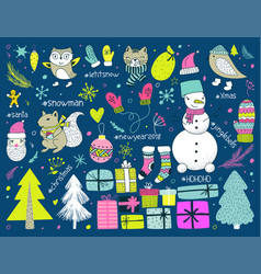 hand draw collection of christmas doodle elements vector image