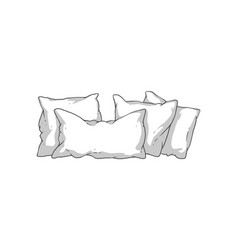 Hand drawn white pillow stack - soft pillows in vector
