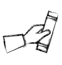 hand human with graduation diploma vector image vector image