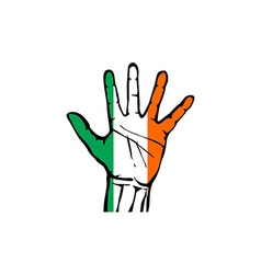Hand with five fingers stretched upward colors of vector