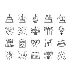 Happy birthday party line icon set vector