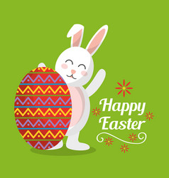 Happy easter cute rabbit with big egg decorated vector