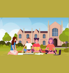 Happy students group sitting on grass at campus vector