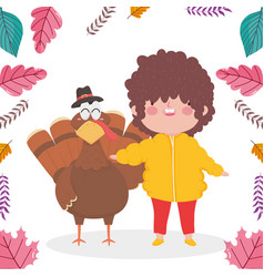 Happy thanksgiving day little boy with turkey vector
