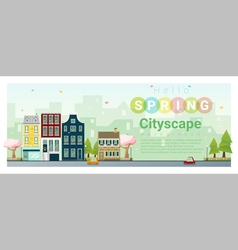 Hello spring cityscape background 3 vector