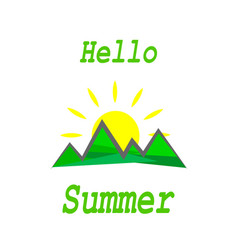 hello summer sunset iconslogo image vector image