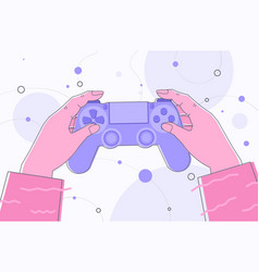 human hands holding wireless gamepad controller vector image