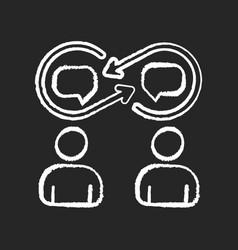Interpersonal relationship chalk white icon vector