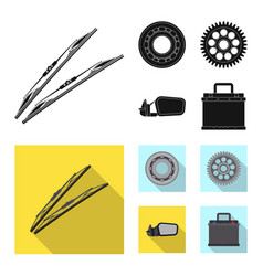 Isolated object of auto and part icon set of auto vector