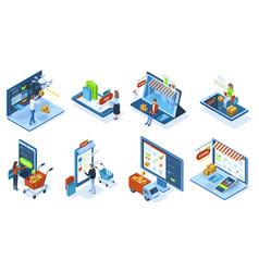 isometric mobile e-commerce online shopping vector image