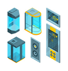 isometric pictures set of glass elevators with vector image