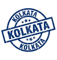 Kolkata blue round grunge stamp vector