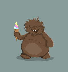 Little bigfoot in cartoon style brown yeti vector