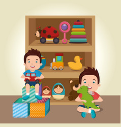 Little boys playing with toys characters vector