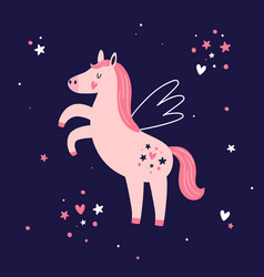 magic pink unicorn on dark blue background vector image