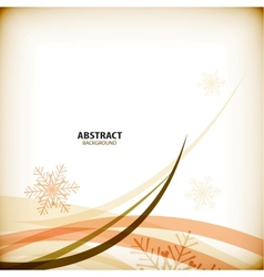 Orange Christmas snowflakes and waves vector image