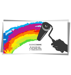 paint roller in hand painter business card vector image