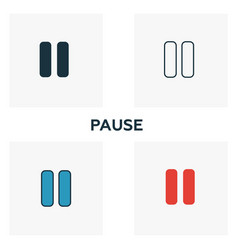 Pause icon set four elements in diferent styles vector