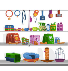 Pet shop cartoon toys foods and goods for cats vector
