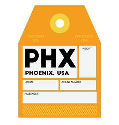 Phoenix airport luggage tag vector