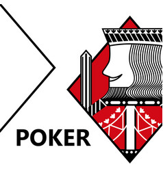 Poker card gambling king with sword in sign vector