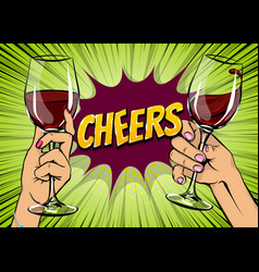 pop art woman hand hold red wine glass vintage vector image
