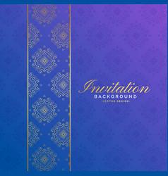 Premium invitation background with pattern vector