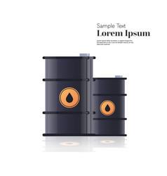 realistic black metal petroleum barrels oil vector image