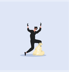 robber in black clothes and mask standing vector image