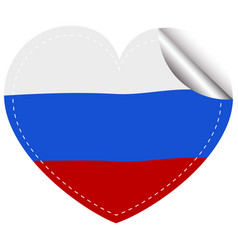 russia flag in heart shape vector image