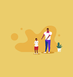 Sad father crying with little son parenthood vector