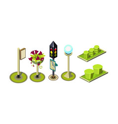 set of isometric elements for city vector image