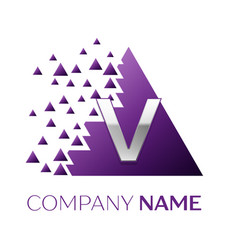 silver letter v logo in the purple pixel triangle vector image