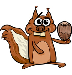 squirrel with nut cartoon vector image