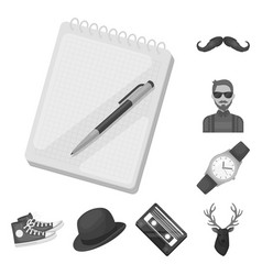 style hipster monochrome icons in set collection vector image