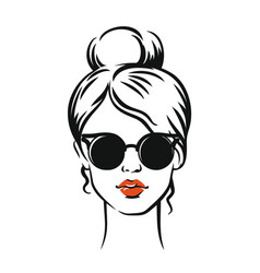 Stylish girl in glasses vector