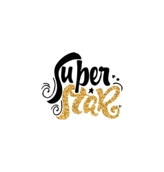 Super star Calligraphy gold paint similar to the vector