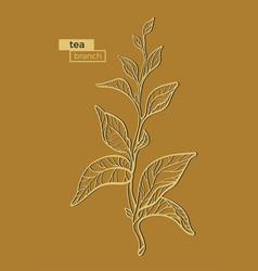 Tea branch gold 2 vector
